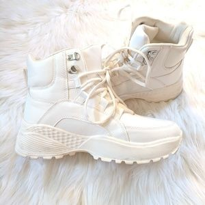 White Chunky Platform High-Top Sneakers/Trainers